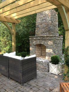 pergola + stone fireplace = <3  blog::the good stuff