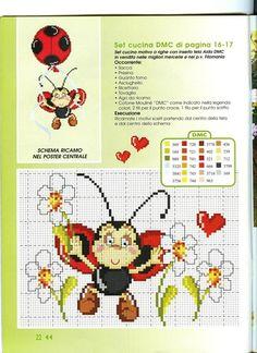 Ladybug and flowers cross stitch