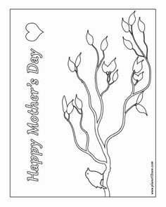 Free Printable Black White Worksheet Happy Mothers Day Card