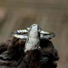 Sterling silver hand textured ring with by MetalStudioThailand, $228.00