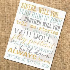 Printable Nursery Playroom Bedroom Poster - Brother Sister Love. $8.00, via Etsy.