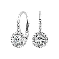 Luxe Halo Enchant Drop Earrings (1 1/4 ct. tw.) in 18K White Gold