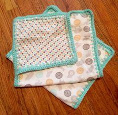 Crochet Edged Burp Cloths, baby burp cloths, burp cloths, burp rags, burp cloth set, bibs, by StitchesBySullivan on Etsy