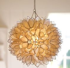 Elegant shell chandelier--not sure where to put it but it's pretty