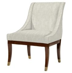 Gwinnett Fifties French Deco Fawn Linen Dining Arm Chair