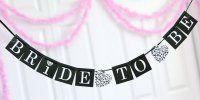 Celebrate the bride to be with this black and white bridal shower banner. Heart and damask accents add an elegant look to this 60 inch satin ribbon and cardstock banner Beach Bridal Showers, White Bridal Shower, Bridal Shower Photos, Bridal Shower Party, Bridal Shower Decorations, Wedding Showers, Bridal Parties, Shower Centerpieces, Wedding Decorations