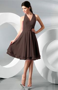 Chocolate Brown Bridesmaid Dress - Simple A-line Halter Zip up Chiffon
