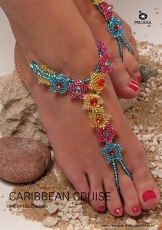 Seed bead jewelry Gorgeous Beaded Sandals Tutorial for Your Cruise Vacation. (or just use the flower components for other pieces) - The Beading Gem's Seed Bead Jewelry, Beaded Jewelry, Beaded Bracelets, Seed Beads, Jewellery, Beaded Sandals, Beaded Anklets, Barefoot Sandals Pattern, Bare Foot Sandals