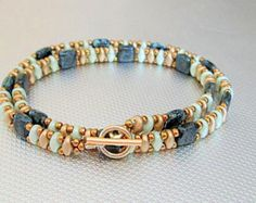 beaded bracelet beadwork tila jet picasso teal bead by beadnurse
