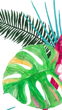 #Tropical floral plant vibes iphone wallpaper or background #watercolor #green #pattern