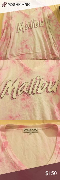 Wildfox Baggy Beach Jumper w/ Barbie Font Graphic Rare V neck pink and white tie dye Malibu graphic baggy beach jumper!! really sad to finally let this one go :'( Wildfox Couture Sweaters