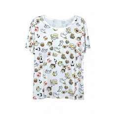 Lovely Cartoon Animal Printed Short Sleeve Round Neck Tee ($26) ❤ liked on Polyvore featuring tops, t-shirts, cartoon t shirts, animal t shirts, cotton t shirts, round neck t shirt and short t shirt