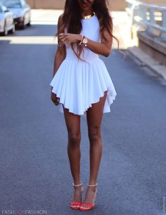 little white day dress - street style for summer # gold statement necklace # red round ankle sandal heels GG's tiny times ♥