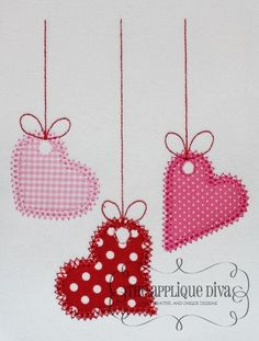 Valentine's Day 3 Hanging Hearts Digital Embroidery Design Machine Applique.