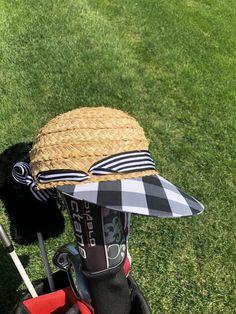 34a544a989 Ladies Raffia Hat with black white checked brim. Raffia HatStraw ...