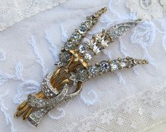 Exquisite Vintage Rhinestone Brooch Pin HUGE ... by GypsyFeather