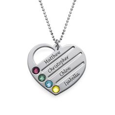 Birthstone Heart Necklace with Engraved Names | MyNameNecklace