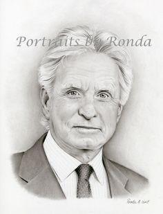Michael Douglas by rondawest {from USA} ~ pencil portrait