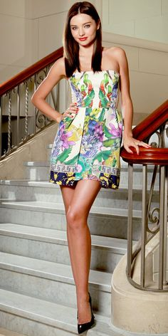 Miranda Kerr struck a pose at David Jones in a botanical Lisa Ho minidress and pointy-toe pumps. Miranda Kerr Photoshoot, Lisa Ho, The Last Summer, Spring Summer, Miranda Kerr Style, Joan Smalls, Fashion Advice, Cute Dresses, Dress Skirt