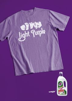 Ariel color detergent: Purple t-shirt. Light Purple or Ariel.