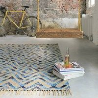 Tika casablanca rugs 79608 by brink and campman buy online from the rug seller uk Blue Rooms, Blue Rug, Flat Weave Rug, Recycled Cotton, Blue, Rugs, Modern Prints, Contemporary Rug, Printed Curtains