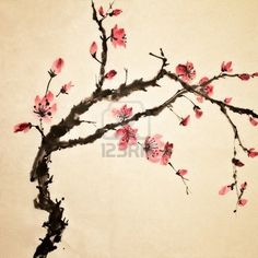 Chinese painting, traditional art  with flower in color on art paper.