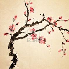 Chinesische Malerei, Traditionelle Kunst Mit Blume In Farbe Auf Kunstdruckpapier. Lizenzfreie Fotos, Bilder Und Stock Fotografie. Image 9001382.