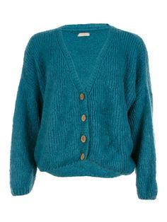 V-Neck Button Knit Aqua - Jenterommet Aqua, V Neck, Buttons, Knitting, Sweaters, Black, Fashion, Moda, Water