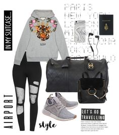 """Airport rags"" by sheplusher ❤ liked on Polyvore featuring ADZif, Gucci, adidas Originals, Chanel, House Doctor, Chloé, Skullcandy, Recover and Mark Cross"
