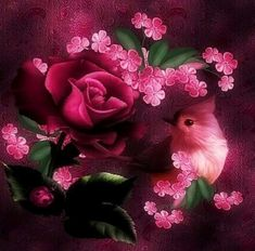 Pretty Birds, Rose, Flowers, Plants, Painting, Art, Nature, Craft Art, Beautiful Birds