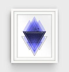 Navy Blue Minimalist Print Geometric Wall Art by GalliniDesign