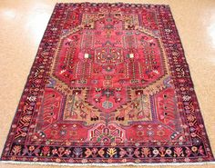 5 x 7 ANTIQUE PERSIAN MALAYER Tribal Hand Knotted Wool RED ANIMALS Oriental Rug #PersianMalayerTribalGeometric