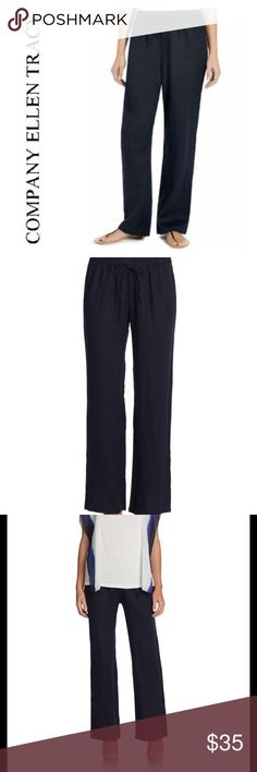 Company Ellen Tracy Women's Drawstring Linen Pants This is a Company Ellen Tracy Drawstring Linen Pants. New With Tags. MSRP 69.99. Size: Large and Medium. Color: English Navy. * Elastic drawstring waistband * Fabric content: 100% Linen * Rib and linen weave * Machine washable Company Ellen Tracy Pants