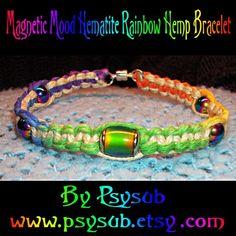 Items similar to Magnetic Mood Bead Hematite Rainbow Hemp Bracelet - Hemp Jewelry - Rainbow Bracelet - Rainbow Jewelry - Mood Bead Jewelry - Hemp Bracelet on Etsy Hemp Jewelry, Hemp Bracelets, Hippie Jewelry, Hippie Boho, Beaded Jewelry, Peace Sign Necklace, Macrame, Magnets, Rainbow