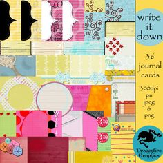 Write it Down 36 journal cards for digital scrapbooking - $2.00 : ScrapPNG, Digital Craft Graphics