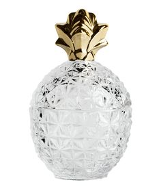 Check this out! Pineapple-shaped glass jar with a silver-colored finish and a lid. Diameter approx. 4 in., height 6 3/4 in. - Visit hm.com to see more.