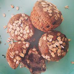 Muffins banane, avoine, chocolat