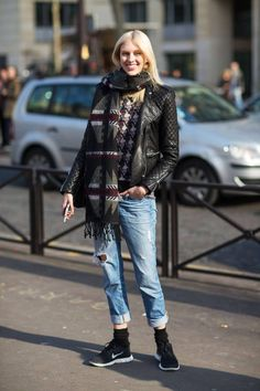 | street style | French fashion | layers | French style | oversized scarf | casual style |
