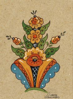 Swedish Kurbits Card - Viveca Lammers. These Kurbits patterns were developed in the area around Leksand in Dalarna in                                                                        Sweden around 1800 and they have become symbolic for Sweden, together with the brightly painted Dala Horse, also from Dalarna. The old times´ peasant painters often made illustrations to biblical scenes. The Kurbits Tree is the tree that was mentioned in the Bible…