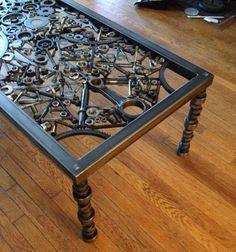 Mesa de centro mesa de centro metal mesa arte por WrenchWorksCustom