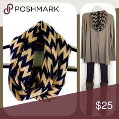 Sale! Chevron Infinity Scarf 🍂🍁BOUTIQUE🍁🍂 ✅Not thin. So warm, stylish, and cozy!  ✅One size fits all ✅I stock other items (like tunics, ponchos, and leggings) that complement each other --- go take a look!  ✅Price firm, BUT... ✅Want 15% off AND a free gift? Bundle 3+ items!  ✅Check out my other warm scarves! 🍁🍂💥Happy Poshing!💥🍂🍁 Accessories Scarves & Wraps