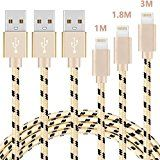 #10: V-CEN Lightning Cable iphone Cable Charging Cable 3Pack 1M / 1.8M / 3M Nylon Braided Lightning Data Cable for iPhone 7/7 Plus/6s/6s Plus/6/6Plus/5s/5c/5 iPad Models - Gold #movers #shakers #amazon #electronics #photo