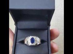 anillo de hombre oro blanco con zafiro y diamantes  sigueme en este canal y visita mi pag. web www.joyeriaevas.mx