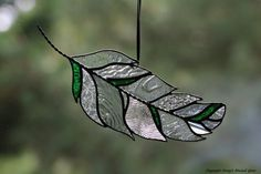 Stained Glass Feather Suncatcher by connysstainedglass on Etsy