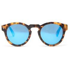 Illesteva Leonard sunglasses (€215) ❤ liked on Polyvore featuring accessories, eyewear, sunglasses, tortoiseshell, round sunglasses, blue sunglasses, illesteva sunglasses, retro sunglasses and mirrored lens sunglasses