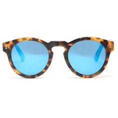 Illesteva Leonard sunglasses (€220) ❤ liked on Polyvore featuring accessories, eyewear, sunglasses, tortoiseshell, retro round sunglasses, mirrored lens sunglasses, blue mirror sunglasses, mirrored sunglasses and round mirror sunglasses