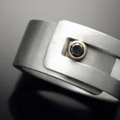 Black Diamond Sterling silver Strap Ring by Revonav on Etsy, $155.00