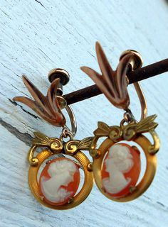 Antique Shell cameo earrings.