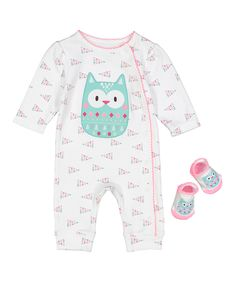 Look at this #zulilyfind! White & Pink Owl Playsuit & Socks by Vitamins Baby #zulilyfinds