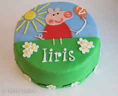 Peppa Pig cake with sun, flower and air balloon. www.tekila.fi